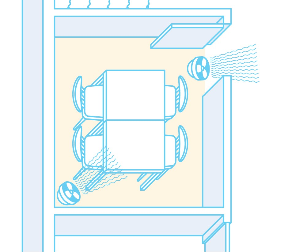 scheme of air flow with fans when ventilation vent is outside the room