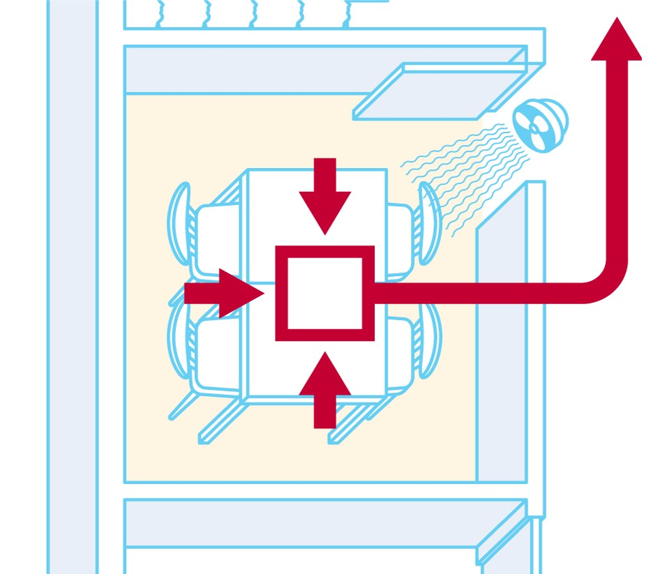 scheme of air flow with fans when ventilation vent is inside the room
